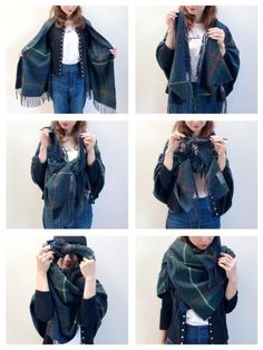 How to tie muffler How To Wear A Blanket Scarf, Ways To Wear A Scarf, How To Wear Scarves, Look Fashion, Fashion Outfits, Womens Fashion, Fashion Tips, Hijab Fashion, Scarf Tying Tutorial