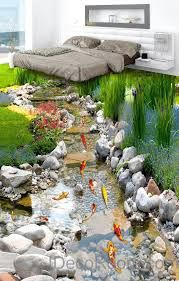 Fish Stone Stream Floor Decals WallPaper Murals Wall Print Sticker Kitchen Bathroom Business Home Office Decor Superior Quality and Striking Color Natural, Environmental and Breathable The images on the picture is for illustration purpose only, ple 3d Floor Art, 3d Floor Painting, Floor Murals, Floor Decal, Wall Murals, Floor Wallpaper, Wallpaper Murals, Adhesive Wallpaper, Backyard Water Feature