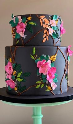 Gorgeous Cakes, Pretty Cakes, Cute Cakes, Amazing Cakes, Pretty Birthday Cakes, Black Wedding Cakes, Fancy Cakes, Creative Cakes, Cake Art