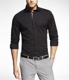 LIMITED EDITION! - 1MX FITTED SPREAD COLLAR SHIRT at Express