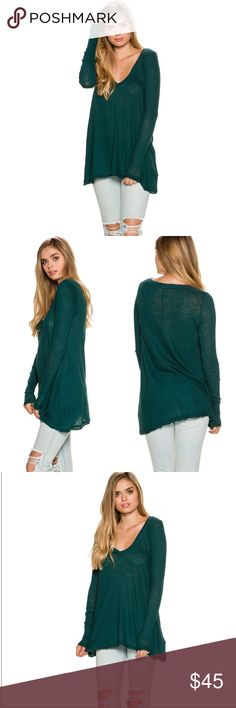 • Free People Anna Long Sleeve Tee • This long sleeve tee has a relaxed v-neck with a slight high low hem & unfinished trims for an edgy look. Size x-small but it's meant to be an oversized fit. Brand new! No tags.   • 100% cotton. • Imported. • Model is wearing size Small.  • Ask all questions prior to purchase • Bundle & save  • Feel free to make your best offer! Free People Tops Tees - Long Sleeve
