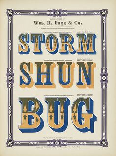 Specimens of chromatic wood type, borders 1874 - Columbia U (Storm + Shun + Bug) Clarendon ornamented by peacay, via Flickr