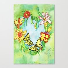 Enchanting spring heart postcard with daffodils and butterflies. Great for lovers of flowers and spring nature. Fantasy Posters, Fantasy Art, Original Artwork, Original Paintings, Heart Canvas, Spring Nature, Make Your Own Poster, Green Art, Canvas Prints