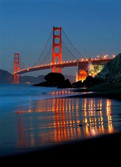Golden Gate Bridge in San Francisco California this is one of the most famous bridge in the world, and this is also one of my dream and finally I saw it last april this year San Francisco At Night, San Francisco City, San Francisco California, Puente Golden Gate, Places Around The World, Around The Worlds, Places To Travel, Travel Destinations, Baker Beach