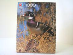 UNUSED Vintage 1988 Milton Bradley Nature Puzzle Wood Duck, 1000 Piece Jigsaw Puzzle