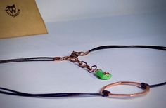 Thin Leather Choker with Copper Circle and Green by Katsaymeow