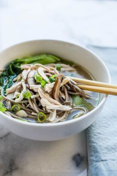 I had PHO for the first time 9/28 and it was so good. This recipe is close to it. Chicken Mushroom Soba Noodle Soup - good idea for leftover chicken