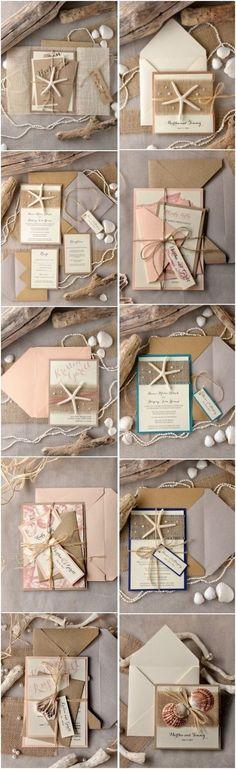 Rustic beach wedding invitations @4LOVEPolkaDots #beachwedding #rusticwedding #countrywedding #dpf