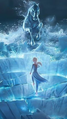 Elsa and Water Horse Phone Wallpaper
