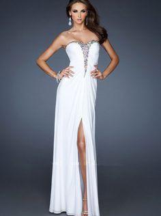 A-line White Chiffon Long Prom Dress Formal Dress/ Evening Dress La Femme 18932