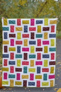 Crossed Paths Quilt using the bike path print of the Lucky Penny fabrics by Alison Glass. Tutorial will be posted next week.