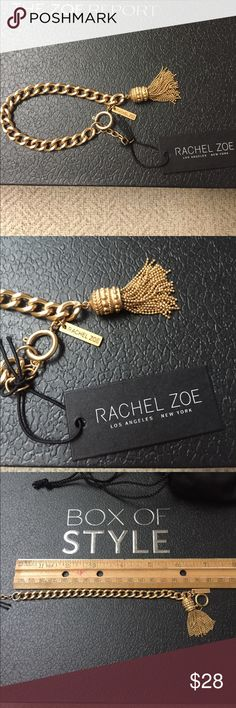 "Rachel Zoe gold-colored tassel bracelet. NWT! Rachel Zoe gold-colored tassel chain bracelet from Zoe's Box of Style Fall 2016. 7"" long with 1/2"" extender. Never worn, with tag and black fabric pouch. Tassel dangles 1 1/2"" from bracelet. Very cool! Rachel Zoe Jewelry Bracelets"