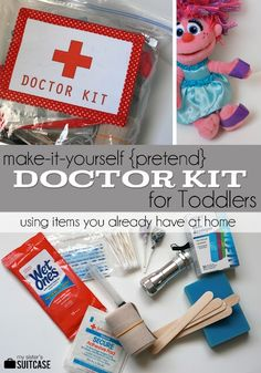 """Make a pretend """"Doctor Kit"""" in a bag using items you already have at home! {+printable label} - my kids are doing this right now! They love it!!! www.sisterssuitca... #kids #busybags"""