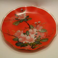 Chance glass flame red YASMIN fluted plate