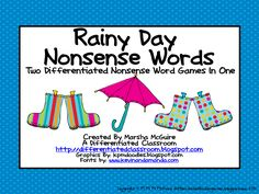 A Differentiated Kindergarten: TWO Differentiated Nonsense Word Games In One for FREE!!!!!!!!