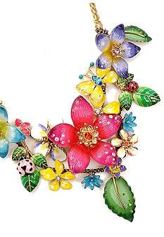 Betsey Johnson Flower Cluster Frontal Statement Necklace - very excited that I got this for our Vegas trip with the yellow butterfly earrings to coordinate...so excited! pinned with Bazaart