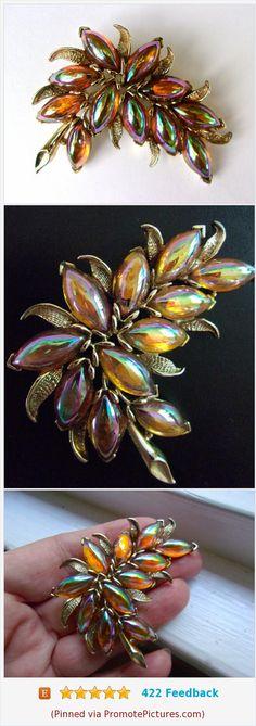 Carnival Glass Leaf KRAMER Brooch, Marquis Aurora Borealis Cabochons, Signed Vintage #brooch #kramer #carnivalglass #leaf #floral #iridescent #vintage https://www.etsy.com/RenaissanceFair/listing/557852306/carnival-glass-leaf-kramer-brooch?ref=listings_manager_grid  (Pinned using https://PromotePictures.com)