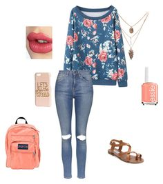 """""""School"""" by dancing0789 on Polyvore featuring Topshop, Steve Madden, Essie, Charlotte Tilbury, H&M and JanSport"""