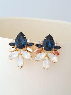 Navy blue earrings,Navy blue crystal Statement stud earrings,Bridal earrings,Extra large cluster earrings,Swarovski earrings, Silver or gold by EldorTinaJewelry   http://etsy.me/2kabMck