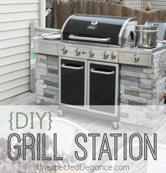 I always wanted a fancy stone grill station, but couldn't justify the expense. See how I made this DIY Grill Station. with step-by-step instructions. Add some side panels to your existing grill to give it a custom built in look. Diy Grill, Barbecue Grill, Patio Grill, Outdoor Grill Station, Built In Outdoor Grill, Built In Bbq, Grill Area, Bbq Area, Outdoor Barbeque Area
