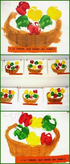Tot i que la plàstica forma part de la vida quotidiana a les classes d'Infantil, un dia a la setmana fem una sessió especial. Als tallers ... Autumn Crafts, Fall Crafts For Kids, Thanksgiving Crafts, Art For Kids, Diy And Crafts, Arts And Crafts, Apple Activities, Art Activities, Fall Preschool