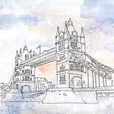 스톡 일러스트 : Illustration of Tower Bridge in London, England