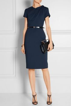 Navy ponte Concealed hook and zip fastening at back 68% rayon, 28% nylon, 4% polyurethane; trim: 100% rayon; belt: 100% leather (Calf); lining: 95% silk, 5% elastane Dry clean