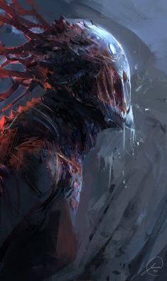 creature concept by jason nguyen Sparrow Volume Ashley Wood 2 Dark Fantasy Art, Fantasy Kunst, Fantasy Artwork, Fantasy World, Demon Artwork, Monster Art, Monster Design, Happy Monster, Monster Concept Art