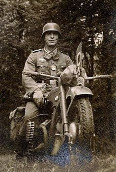 WWII german despatch rider on BMW