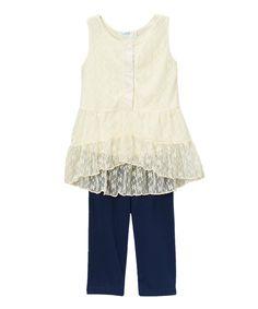 Girls Chiffon Flower Lace Legging Sets / Lainie Day