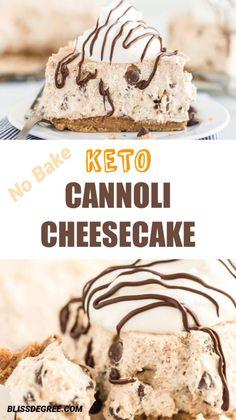 Cannoli Cheesecake - Low Carb Keto Grain-Free Gluten-Free Sugar-Free THM S - Cannoli cheesecake is s. Low Carb Cake, Keto Cake, Low Carb Sweets, Keto Cheesecake, Low Carb Keto, Low Carb Recipes, Keto Cupcakes, Healthy Cheesecake Recipes, Gourmet
