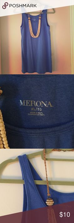 Merona cornflower blue tank Merona beautiful cornflower blue tank top. Very soft - cotton/modal/spandex mix. Worn once - great condition! ***Necklace sold separately! You can find it in my closet!***  Merona Tops Tank Tops