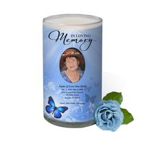 3x6 Glass Candles : Butterfly Custom Photo Memorial Glass Candle 3x6