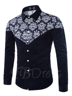 32a661f70 #TBDress - #TBDress Lapel Floral Printed Patchwork Plain Slim Mens Shirt -  AdoreWe.com