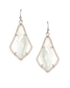 2535db0bc Kendra Scott Signature Alex Earrings in Rose Gold Plated Ivory Mother of  Pearl >>>