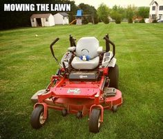Mowing the lawn...