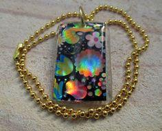 hippy chic flower image in resin necklace #Bong #Pipe #Waterpipe #Stoner #Pot #Weed #Glasspipe #Teagardins #SmokeShop http://Teagardins.com
