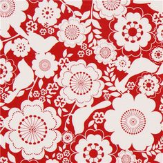 red Riley Blake flower and animal fabric from the USA bird