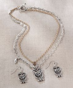 Another great find on #zulily! Floral Heart Necklace & Earrings Set #zulilyfinds