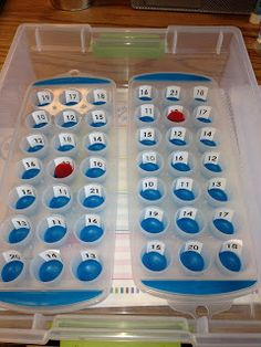 "The kids ""toss"" a dice or marker then add the two numbers together.- regrouping game! - could lower with simple letter or number toss!  I have several of these ice trays =)"