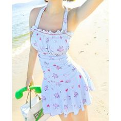896fe3c581d00 Fashionable Halter Printed Slimming One-Piece Swimsuit For Women