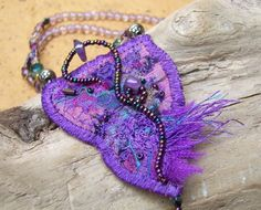 Abstract Fabric Necklace Purple by PasticheStudio on Etsy, $60.00  great colors