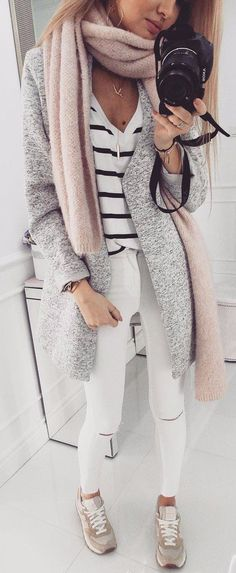 Grey Coat + Striped Top + White Ripped Skinny Jeans