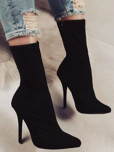 Stylish Pointed Toe Side Zipper Heeled Boots #hothighheelssexyoutfits