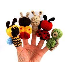 marioneta de dedo jardín, ganchillo abeja, mariquita, caracol, tortuga, mariposa, juego fairytail, pequeño amigurumi, regalo para los niños,...: