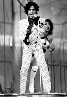 Prince & Cat during a European Lovesexy concert - hence the daylight dusk time of the photo!