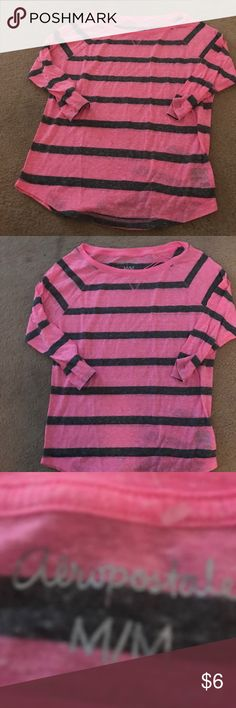 FUN PINK AND GREY AEROPOSTALE Tee This fun pink and gray three-quarter length sleeve T-shirt by Aeropostale is in excellent condition- worn maybe once. However the price is priced to sell help me clean out my closet Aeropostale Tops Tees - Long Sleeve