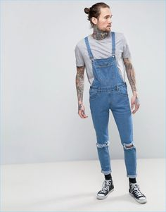 Always Rare's denim overalls provide a slim-fit and trendy ripped knees.