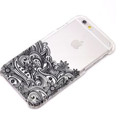 Black Lower Floral Paisley Mandala Henna Phone Case iPhone 6, 6 Plus,... ❤ liked on Polyvore featuring accessories and tech accessories