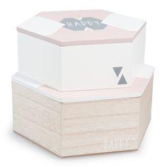 2 boîtes en bois L 20 et L 22 cm MALVINA
